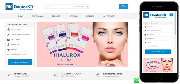 Criação de site com catálogo de produtos hospitalar