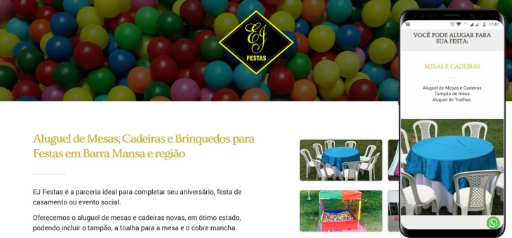 Landing page otimizada para EJ Festas